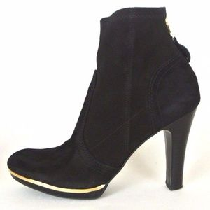 Tory Burch Heeled Ankle Boots Black Suede 7.5M